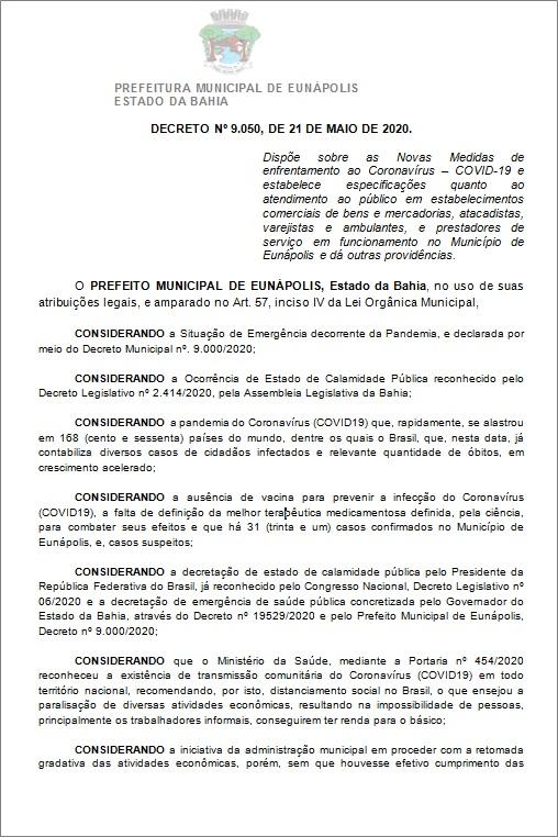 Toque de recolher: Prefeito de Eunápolis decretou a proibição de circulação de pessoas e veículos das 20:00 às 05:00 35