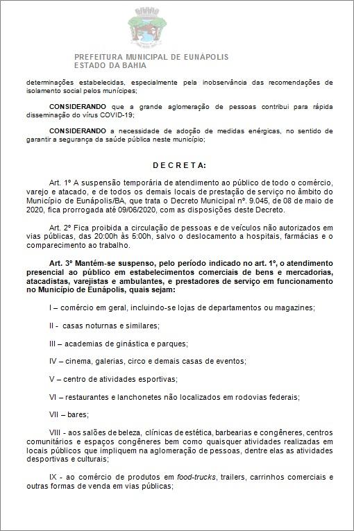 Toque de recolher: Prefeito de Eunápolis decretou a proibição de circulação de pessoas e veículos das 20:00 às 05:00 36