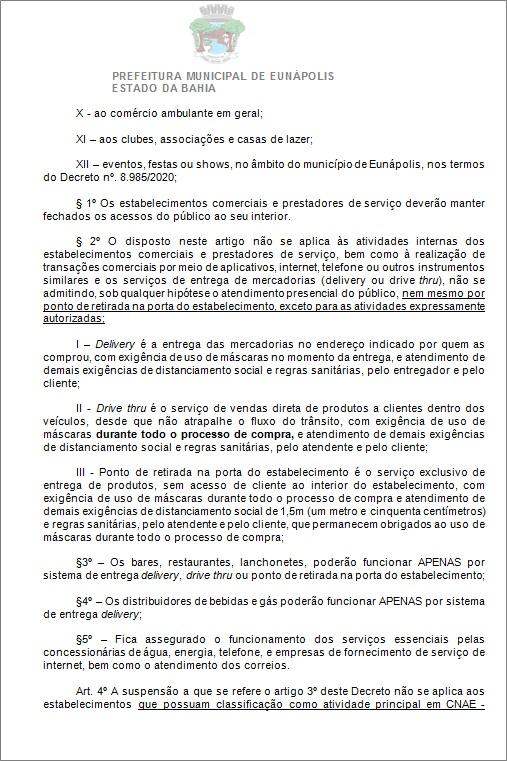 Toque de recolher: Prefeito de Eunápolis decretou a proibição de circulação de pessoas e veículos das 20:00 às 05:00 37