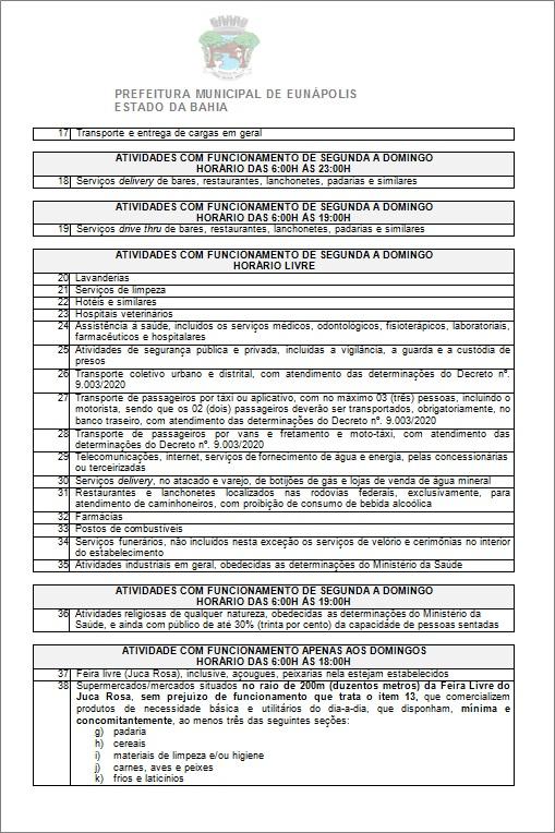 Toque de recolher: Prefeito de Eunápolis decretou a proibição de circulação de pessoas e veículos das 20:00 às 05:00 39