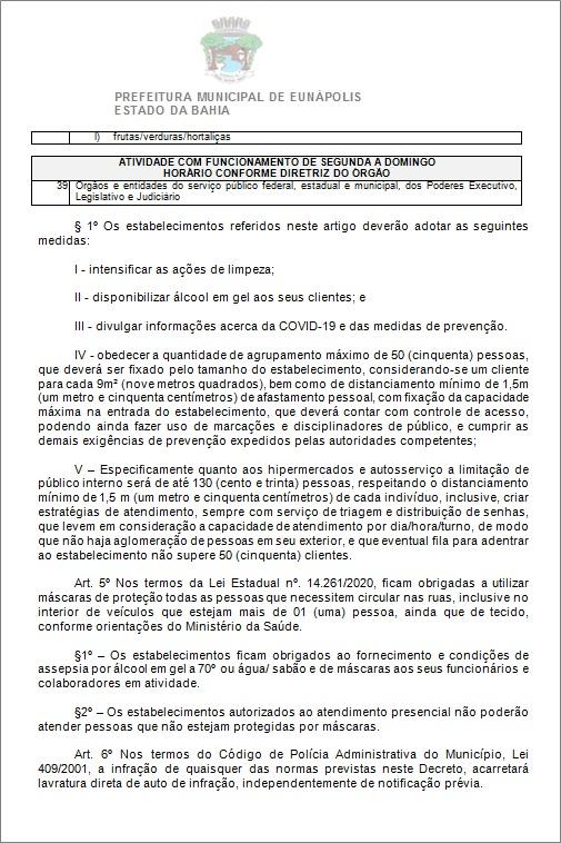 Toque de recolher: Prefeito de Eunápolis decretou a proibição de circulação de pessoas e veículos das 20:00 às 05:00 40