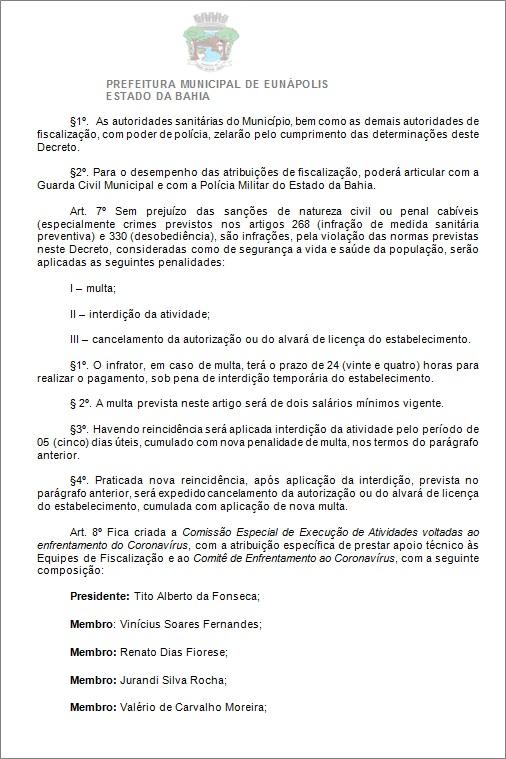 Toque de recolher: Prefeito de Eunápolis decretou a proibição de circulação de pessoas e veículos das 20:00 às 05:00 41
