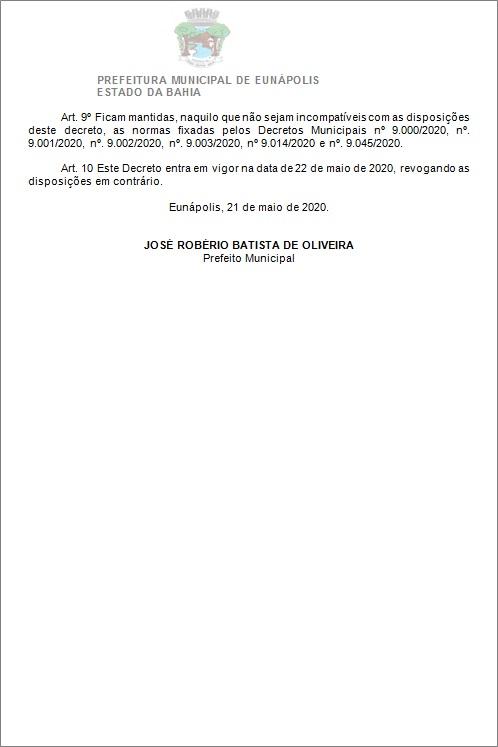 Toque de recolher: Prefeito de Eunápolis decretou a proibição de circulação de pessoas e veículos das 20:00 às 05:00 42